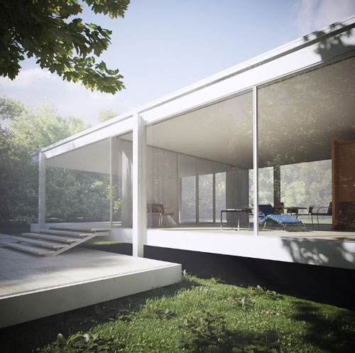 icon mies van der rohe s farnsworth house 3d renderings. Black Bedroom Furniture Sets. Home Design Ideas