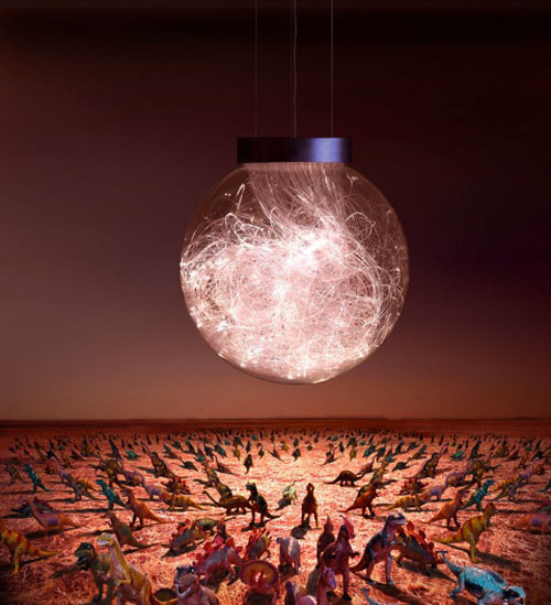 Comet pendant lights by Bruce Munro